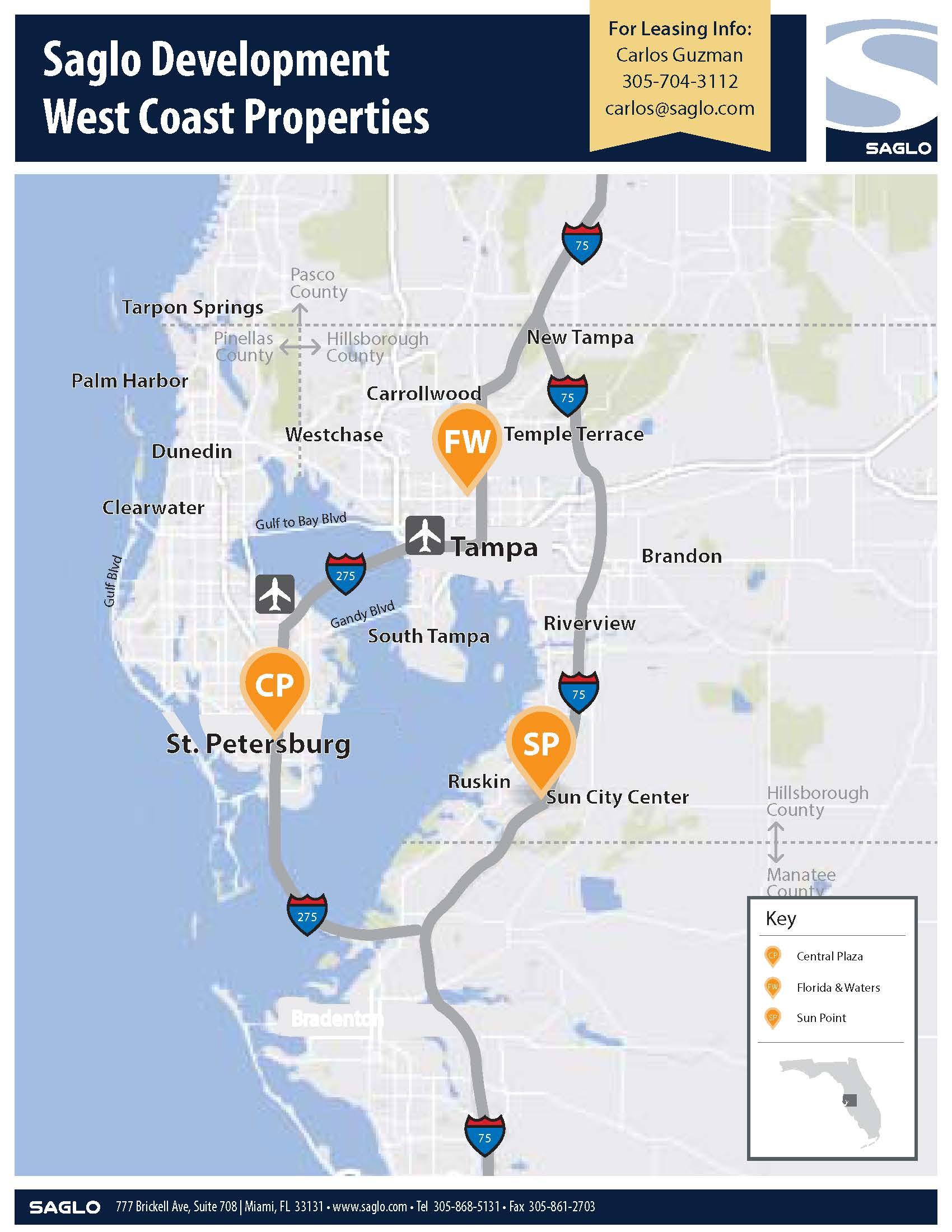 Saglo's Pinellas and Hillsborough Counties (Greater Tampa) Properties Map